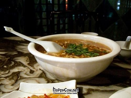 """Photo of Gong De Lin - Godly - Nanjing Rd  by <a href=""""/members/profile/sbszine"""">sbszine</a> <br/>Hot and sour soup. This was huge, very cheap, and  and very tasty. Recommended. Foreground: pickles <br/> March 18, 2012  - <a href='/contact/abuse/image/13/29612'>Report</a>"""