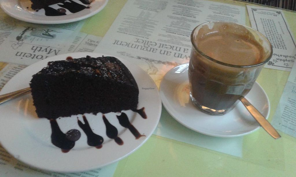 """Photo of Bookworm Cafe  by <a href=""""/members/profile/Stevie"""">Stevie</a> <br/>Vegan choc cake and dandelion drink <br/> April 3, 2015  - <a href='/contact/abuse/image/16/97664'>Report</a>"""