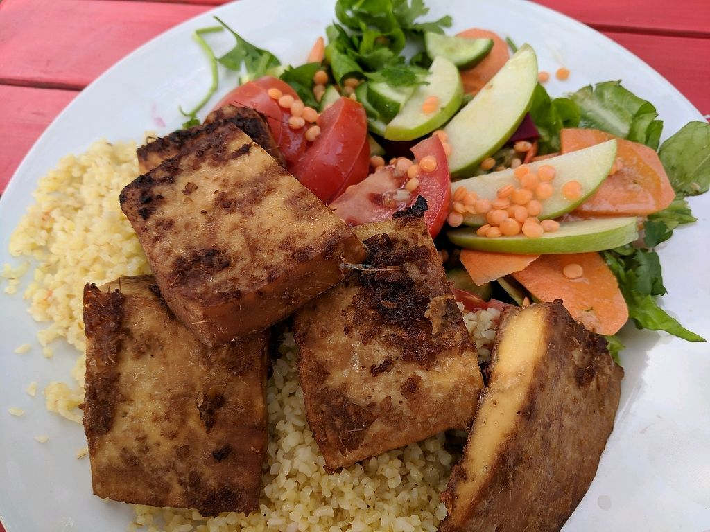 """Photo of Te'enim  by <a href=""""/members/profile/NJ220"""">NJ220</a> <br/>Grilled Tofu with salad and grains <br/> March 9, 2018  - <a href='/contact/abuse/image/74/368319'>Report</a>"""