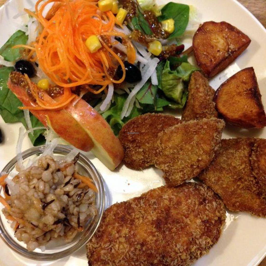 "Photo of Biotei  by <a href=""/members/profile/Hstryk"">Hstryk</a> <br/>combination plate with fried gluten, potato croquette, potatoes, barley salad and fresh salad <br/> March 26, 2014  - <a href='/contact/abuse/image/81/66586'>Report</a>"