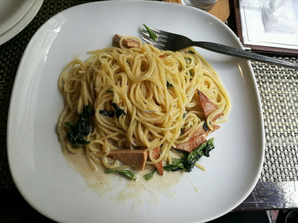 """Photo of Green Earth  by <a href=""""/members/profile/Felicious"""">Felicious</a> <br/>Soy ham creamy pasta <br/> April 11, 2018  - <a href='/contact/abuse/image/85/383876'>Report</a>"""
