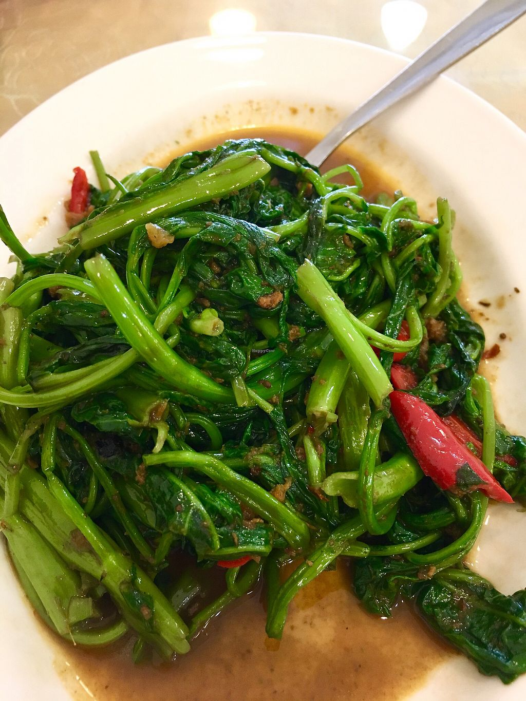 "Photo of NEU Vegetarian Restaurant  by <a href=""/members/profile/pauldub"">pauldub</a> <br/>Kangkung belacan (water spinach with vegetarian shrimp paste). Very tasty and indistinguishable from the non-veg version. Vegan <br/> March 22, 2018  - <a href='/contact/abuse/image/154/374469'>Report</a>"