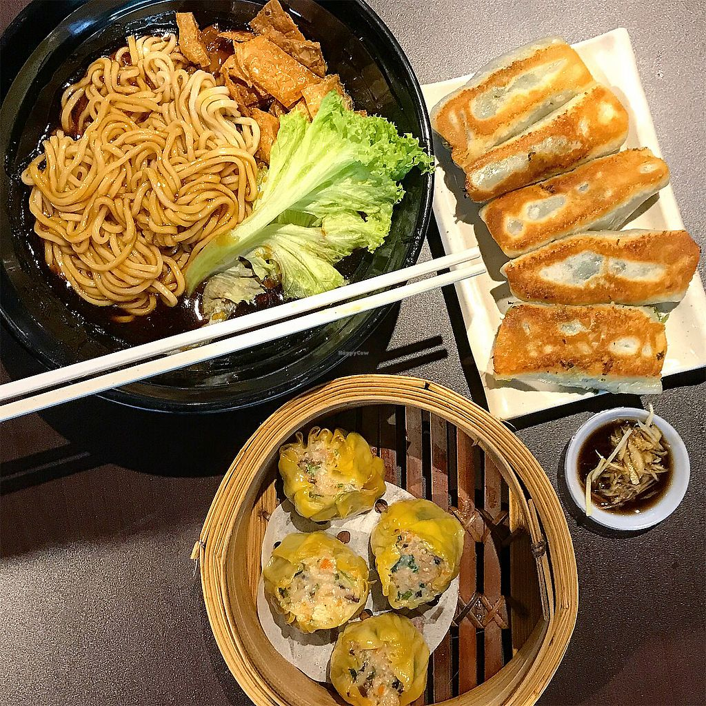 """Photo of Divine Realm Vegetarian Restaurant  by <a href=""""/members/profile/Sweetveganneko"""">Sweetveganneko</a> <br/>Noodles, siew Mai, potstickers  <br/> March 5, 2018  - <a href='/contact/abuse/image/185/367126'>Report</a>"""