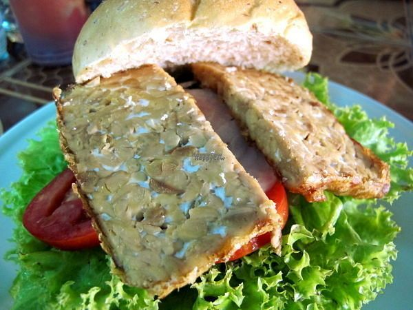 """Photo of Aum  by <a href=""""/members/profile/reissausta%20ja%20ruokaa"""">reissausta ja ruokaa</a> <br/>Tempeh burger. It would be nicer if tempeh would be marinated to add some taste to it.  <br/> September 18, 2016  - <a href='/contact/abuse/image/360/176526'>Report</a>"""