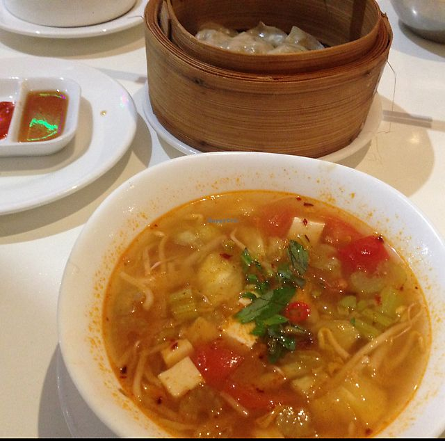 """Photo of Kingsland. Healthy Vegan Restaurant  by <a href=""""/members/profile/tulips.and.trains"""">tulips.and.trains</a> <br/>dumplings and soup <br/> September 17, 2017  - <a href='/contact/abuse/image/389/305339'>Report</a>"""