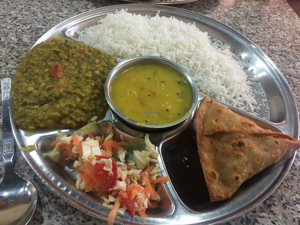 "Photo of Rasoi Vegetarian Restaurant  by <a href=""/members/profile/Tiggy"">Tiggy</a> <br/>Rani Thali with mung bean curry and dahl soup $12.50 plus samosa <br/> December 29, 2017  - <a href='/contact/abuse/image/400/340347'>Report</a>"