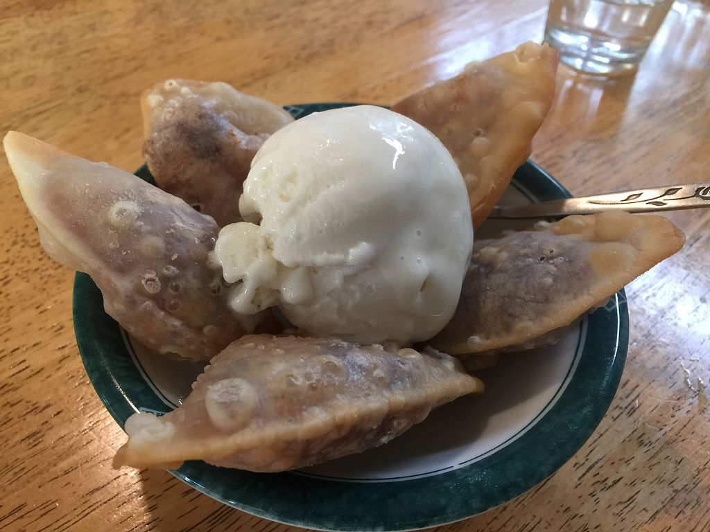 """Photo of Welcome Chinese Vegetarian Food  by <a href=""""/members/profile/Tiggy"""">Tiggy</a> <br/>Red bean pan-fried pastries $4 with scoop vegan ice cream $2.30 <br/> January 29, 2018  - <a href='/contact/abuse/image/414/352548'>Report</a>"""