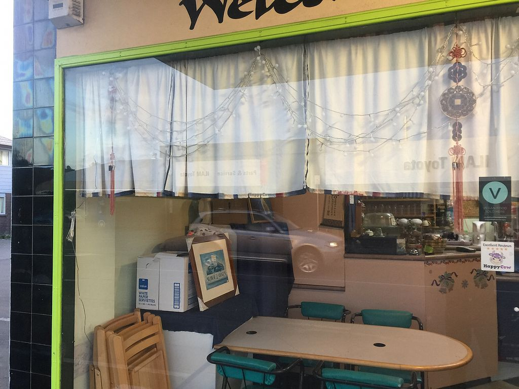 """Photo of Welcome Chinese Vegetarian Food  by <a href=""""/members/profile/Tiggy"""">Tiggy</a> <br/>Shop window with freshly affixed Happy Cow sticker  <br/> January 30, 2018  - <a href='/contact/abuse/image/414/352556'>Report</a>"""