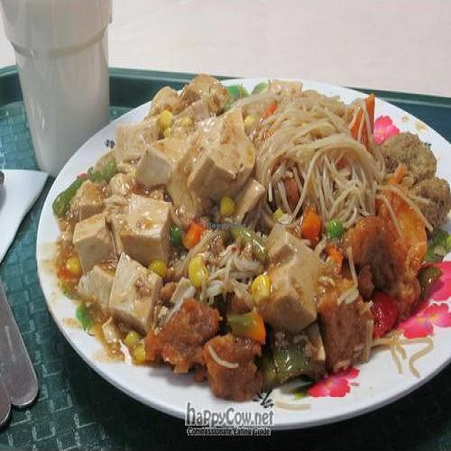 "Photo of Pure Vegetarian - Total Vegetarian - Stall  by <a href=""/members/profile/MaitreyaBelmore"">MaitreyaBelmore</a> <br/>My choice: vegetable curry, sweet and sour gluten, mapo tofu, and rice vermicelli on a generous serving of plate - only $7.50  <br/> May 9, 2010  - <a href='/contact/abuse/image/456/4454'>Report</a>"