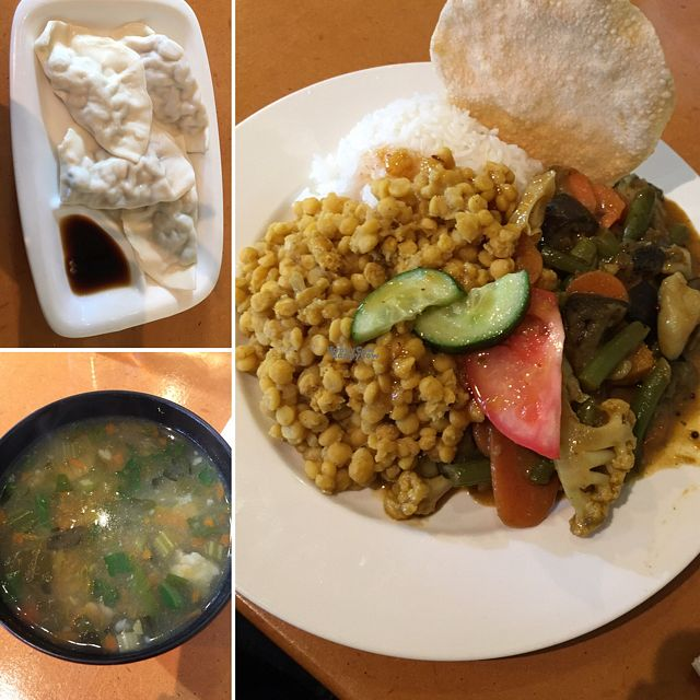 """Photo of Global Vegetarian - Ormond  by <a href=""""/members/profile/BeccaVeg"""">BeccaVeg</a> <br/>steam dumpling, lentil soup, Indian curry.  <br/> October 26, 2016  - <a href='/contact/abuse/image/535/184591'>Report</a>"""