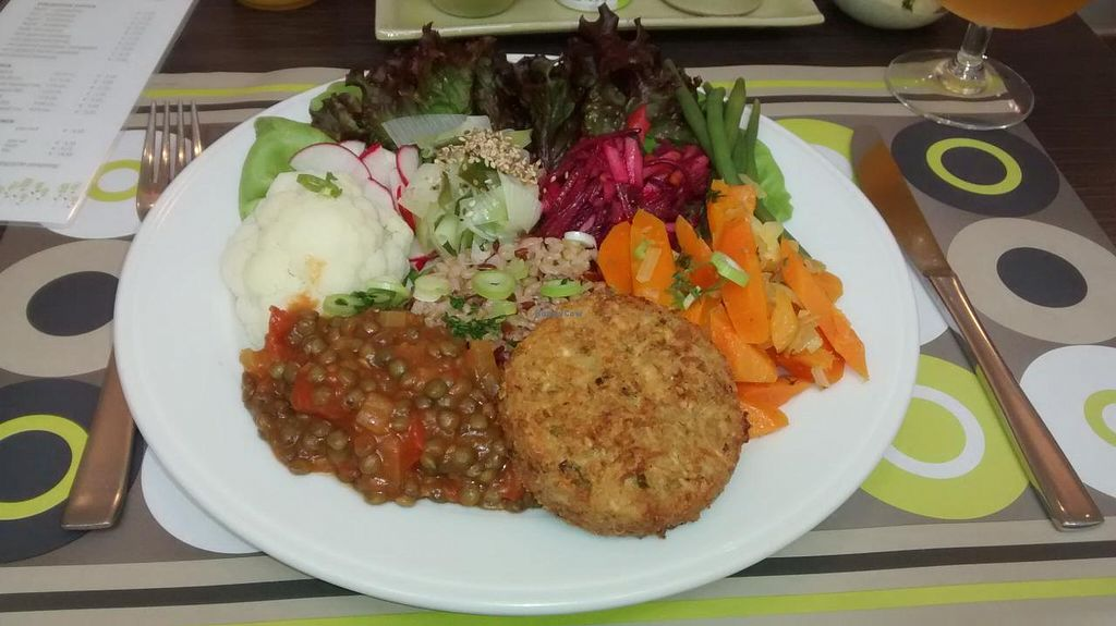 "Photo of De Bron  by <a href=""/members/profile/JonJon"">JonJon</a> <br/>Dish of the day: cereal and vegetable steak, red and brown rice, lentils, cauliflower, celery, radishes, green beans, green salad, carrots <br/> August 19, 2014  - <a href='/contact/abuse/image/598/77431'>Report</a>"