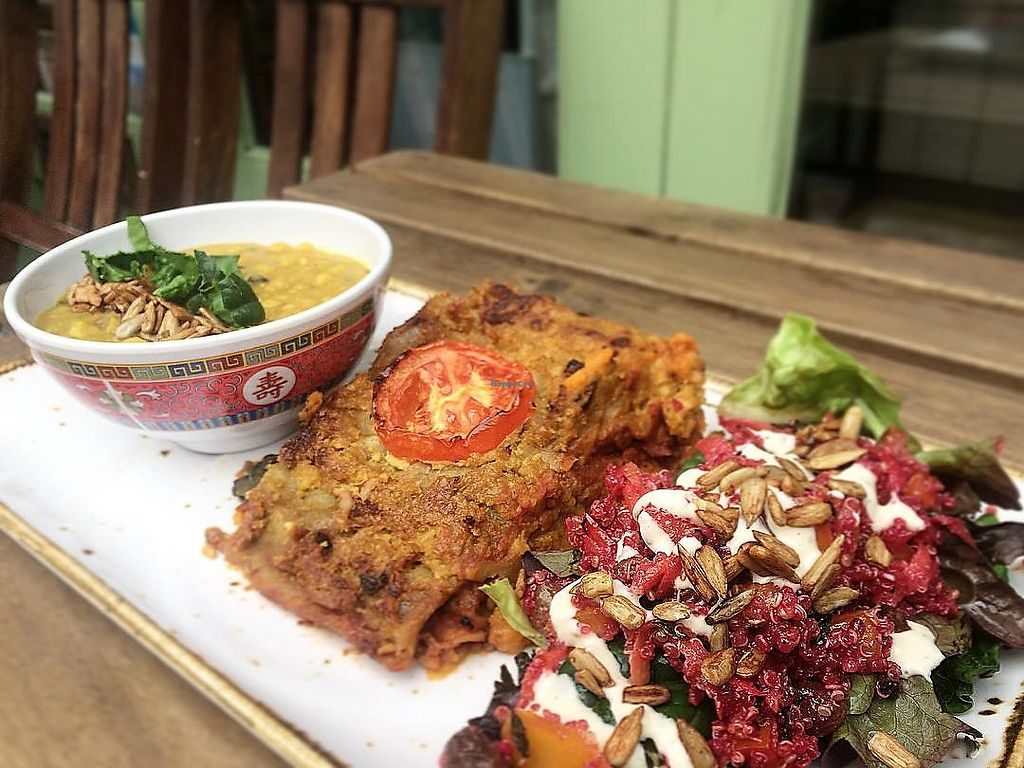 """Photo of Infinity Foods Kitchen  by <a href=""""/members/profile/infinityfoodskitchen"""" class=""""title__title"""">infinityfoodskitchen</a> <br/>Vegan lasagne, tarka dhal and pink quinoa salad with toasted tamari seeds <br/> July 19, 2018  - <a href='/contact/abuse/image/623/434557'>Report</a>"""