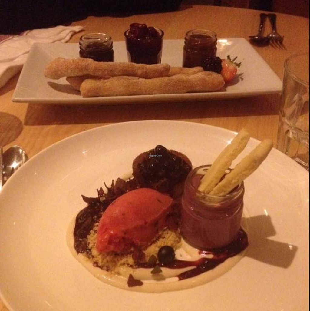 """Photo of Terre a Terre  by <a href=""""/members/profile/VeganDakini"""">VeganDakini</a> <br/>Churros and blackberry tart <br/> October 26, 2014  - <a href='/contact/abuse/image/625/83924'>Report</a>"""