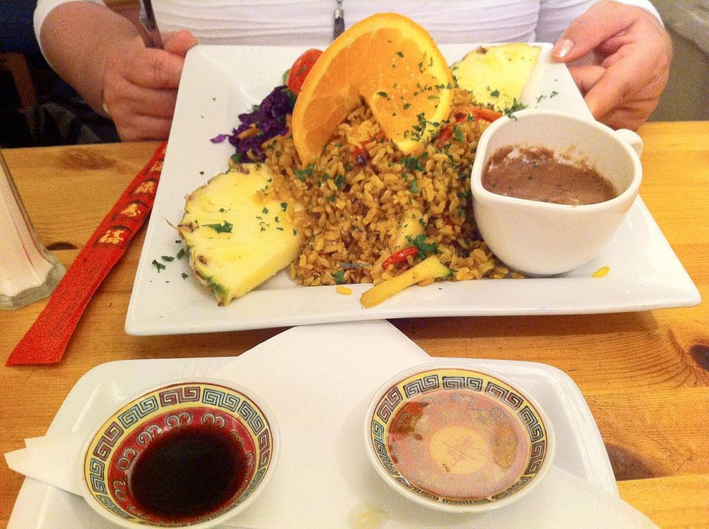 """Photo of Rainbow Vegetarian Cafe  by <a href=""""/members/profile/Icahlua"""">Icahlua</a> <br/>Gado Gado- Crispy julienne of exotic & seasonal vegetables Indonesian style, with turmeric, brown rice, garnished with pineapple, orange & physalis. Served with sides of peanut sauce,plum sauce & Tamari soy <br/> February 21, 2014  - <a href='/contact/abuse/image/630/64664'>Report</a>"""