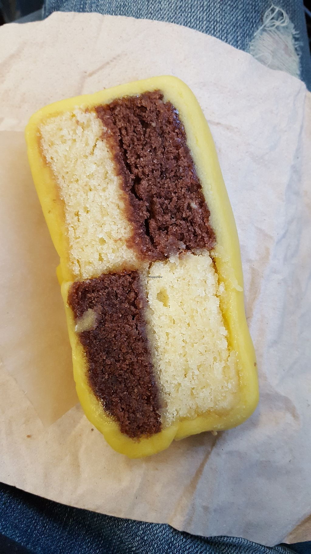"""Photo of Rainbow Wholefoods  by <a href=""""/members/profile/VeganAnnaS"""">VeganAnnaS</a> <br/>Battenberg cake <br/> September 25, 2017  - <a href='/contact/abuse/image/636/308433'>Report</a>"""