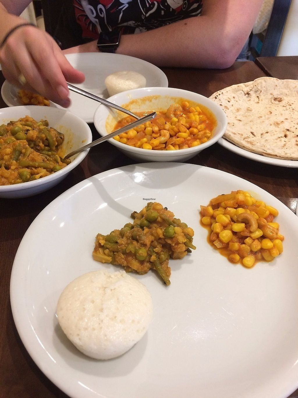 """Photo of Jyoti's Vegetarian  by <a href=""""/members/profile/Hoggy"""">Hoggy</a> <br/>Left Curry - Mixed vegetable daal Right Curry - Sweetcorn and cashew With roti and idli <br/> June 19, 2017  - <a href='/contact/abuse/image/637/271158'>Report</a>"""