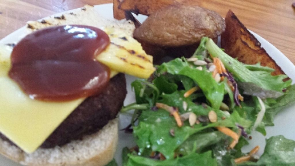 """Photo of The Warehouse Cafe  by <a href=""""/members/profile/Good%20for%20Vegans"""">Good for Vegans</a> <br/>Smoky bbq burger (vegan option) <br/> October 9, 2015  - <a href='/contact/abuse/image/640/120711'>Report</a>"""