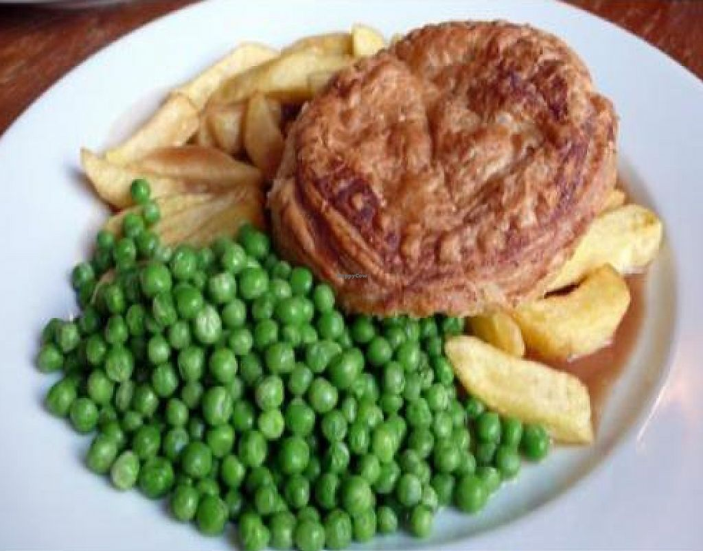 """Photo of The Warehouse Cafe  by <a href=""""/members/profile/quarrygirl"""">quarrygirl</a> <br/>warehouse cafe special: leek pie served with garden peas and chips <br/> November 30, 2011  - <a href='/contact/abuse/image/640/190536'>Report</a>"""