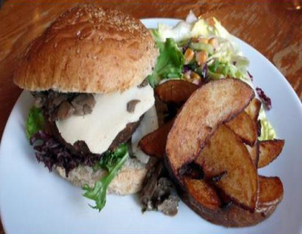"""Photo of The Warehouse Cafe  by <a href=""""/members/profile/quarrygirl"""">quarrygirl</a> <br/>organic vegan burger special with garlic and mushrooms <br/> November 30, 2011  - <a href='/contact/abuse/image/640/190537'>Report</a>"""