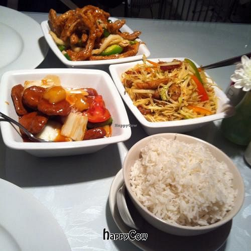 """Photo of Veggie World  by <a href=""""/members/profile/ziggy_patchy"""">ziggy_patchy</a> <br/>Crispy chilli 'beef' - sweet & sour 'chicken' - singapore noodles - steamed rice <br/> September 19, 2012  - <a href='/contact/abuse/image/649/38053'>Report</a>"""
