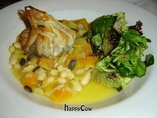 "Photo of Carnevale  by <a href=""/members/profile/Joyatri"">Joyatri</a> <br/>Phyllo Purse stuffed with Rosemary and Wild Mushrooms served with Pumpkin, Leek, Cannelini Beans and Basil Casserole topped with Pumpkin Seeds <br/> December 29, 2012  - <a href='/contact/abuse/image/684/42029'>Report</a>"