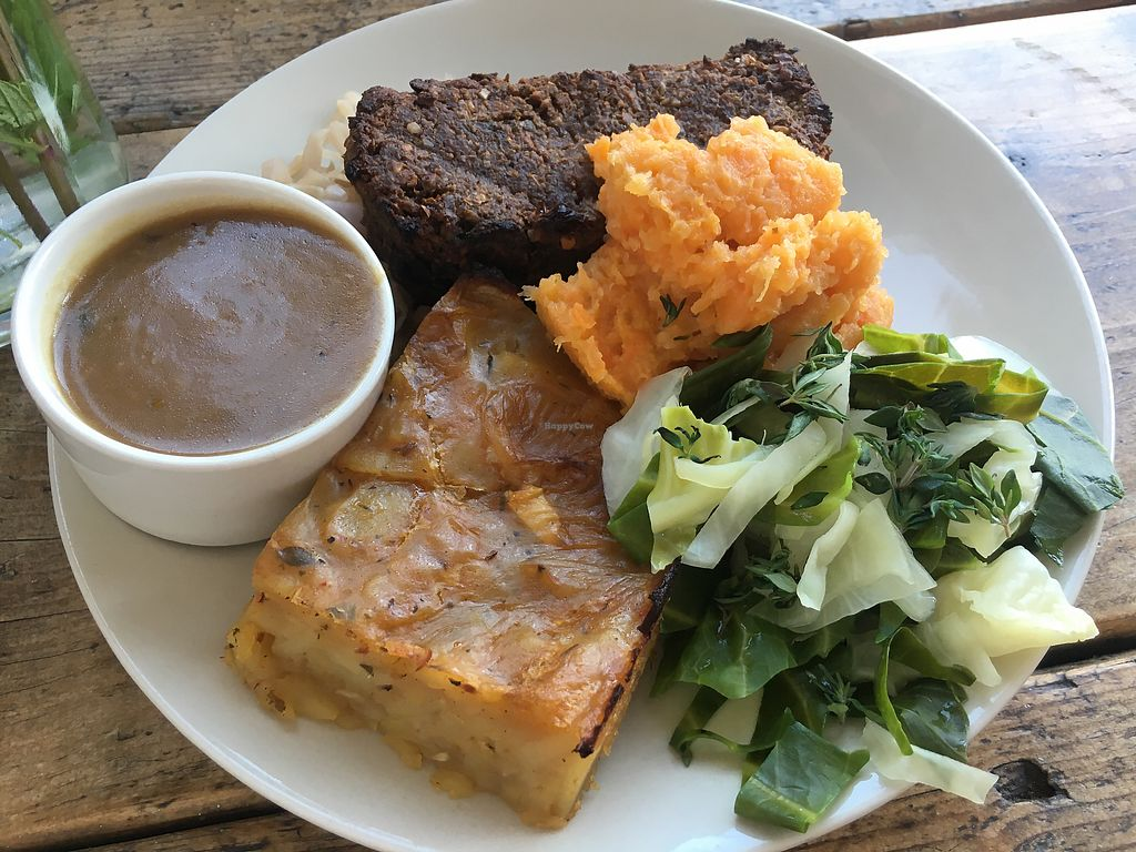 """Photo of Hornbeam Cafe  by <a href=""""/members/profile/Emsee"""">Emsee</a> <br/>Delicious vegan Sunday roast <br/> May 7, 2018  - <a href='/contact/abuse/image/688/396649'>Report</a>"""
