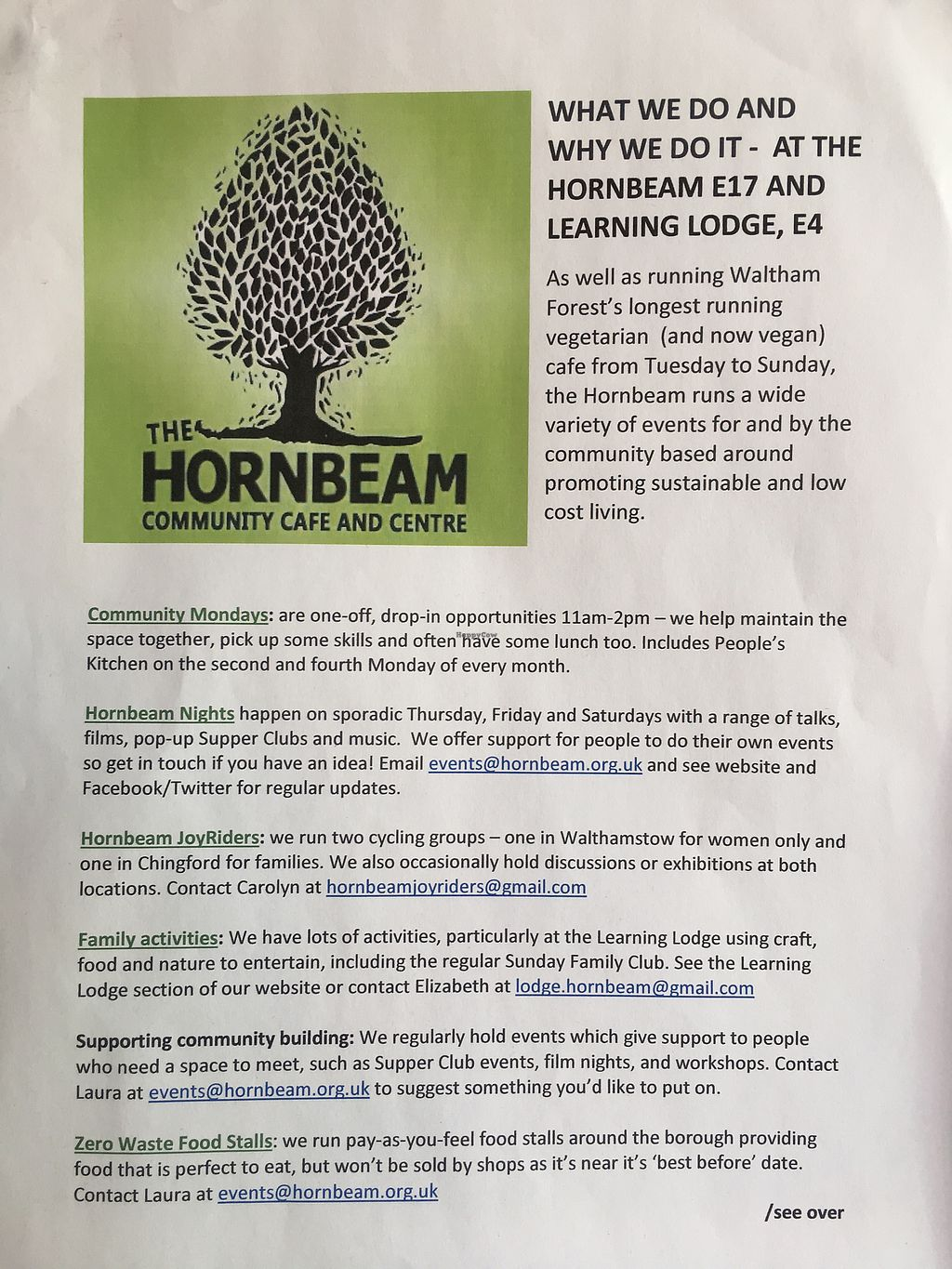 """Photo of Hornbeam Cafe  by <a href=""""/members/profile/Emsee"""">Emsee</a> <br/>The Hornbeam intro <br/> May 7, 2018  - <a href='/contact/abuse/image/688/396654'>Report</a>"""