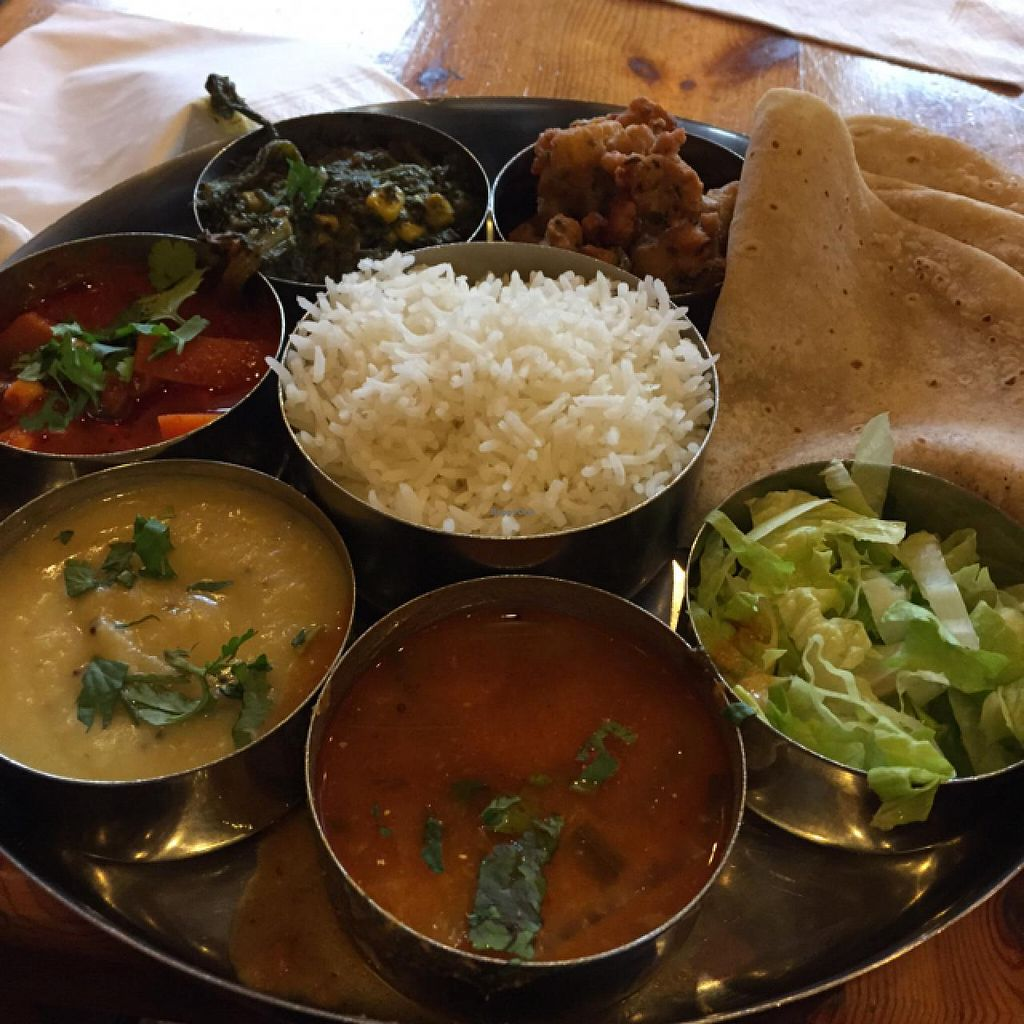 """Photo of Diwana Bhel Poori House  by <a href=""""/members/profile/Marie88"""">Marie88</a> <br/>vegan thali  <br/> May 16, 2015  - <a href='/contact/abuse/image/697/102402'>Report</a>"""