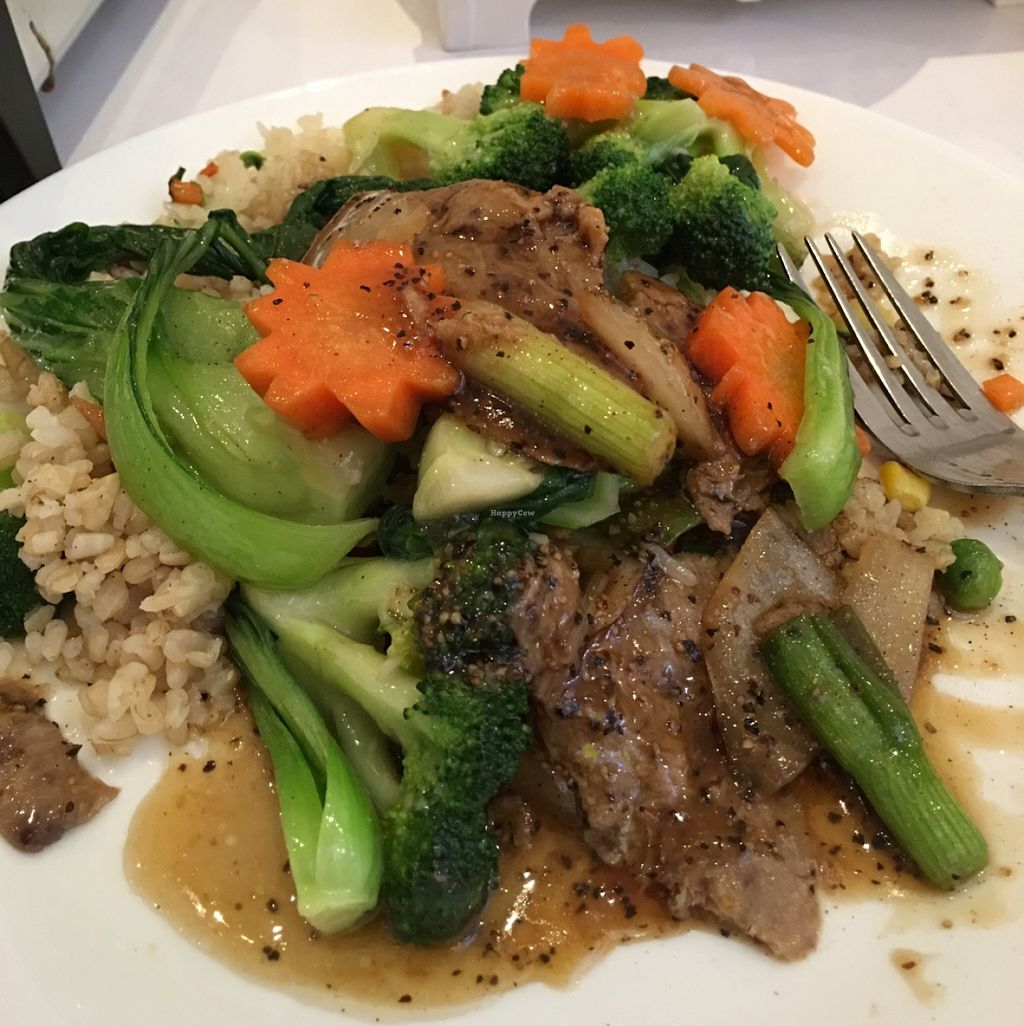 """Photo of Loving Hut  by <a href=""""/members/profile/RobPowderly"""">RobPowderly</a> <br/>vegan beef! <br/> May 17, 2016  - <a href='/contact/abuse/image/703/149527'>Report</a>"""