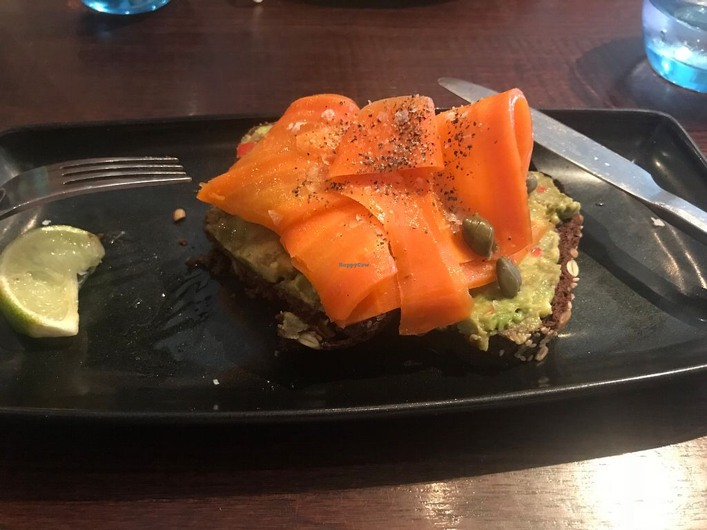 """Photo of Greens  by <a href=""""/members/profile/Ebikegirl"""">Ebikegirl</a> <br/>Mock smoked salmon over mashed avocado <br/> May 18, 2018  - <a href='/contact/abuse/image/763/401654'>Report</a>"""