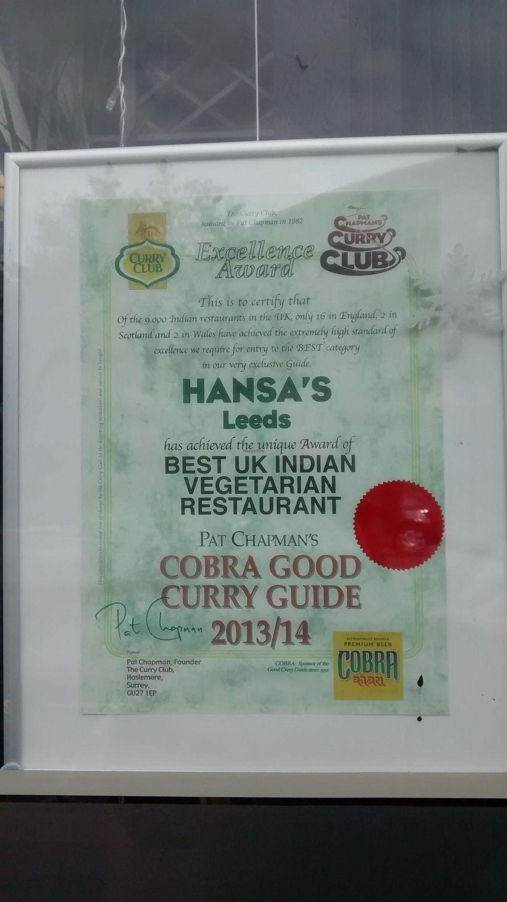 "Photo of Hansa's Restaurant  by <a href=""/members/profile/JonJon"">JonJon</a> <br/>Hansa's best restaurant award <br/> September 22, 2014  - <a href='/contact/abuse/image/776/80726'>Report</a>"