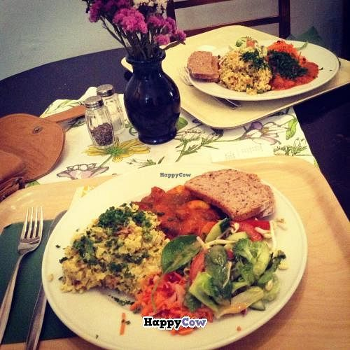 """Photo of Zucchini Vegetarian Cafe  by <a href=""""/members/profile/AlyssaVegan"""">AlyssaVegan</a> <br/>Vegan risotto and cooked vegetables. Me and my grandpa enjoyed it very much! <br/> August 16, 2013  - <a href='/contact/abuse/image/846/53340'>Report</a>"""