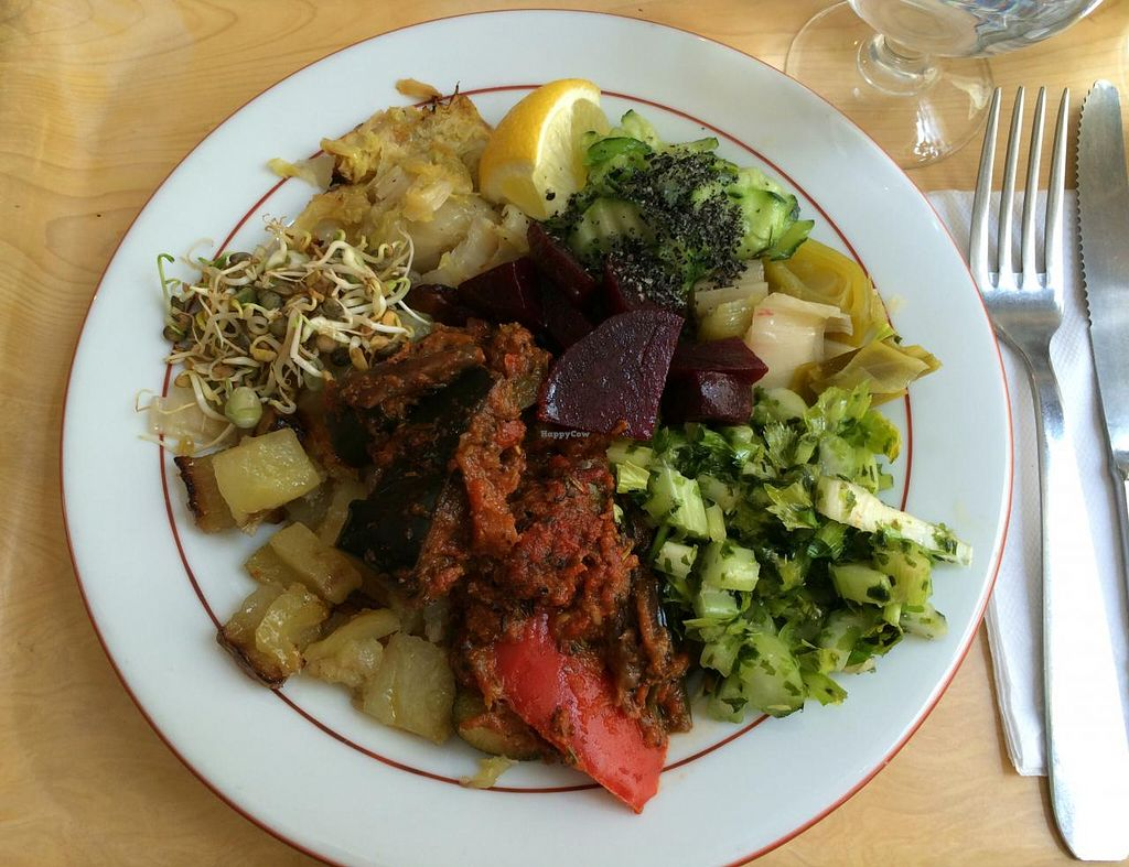 """Photo of CLOSED: Country Life  by <a href=""""/members/profile/LisaCupcake"""">LisaCupcake</a> <br/>A selection of hot and cold items from the buffet, including ratatouille in a tomato sauce, sautéed potatoes, cabbage, leeks, a cucumber salad and red beets <br/> June 26, 2015  - <a href='/contact/abuse/image/858/107339'>Report</a>"""