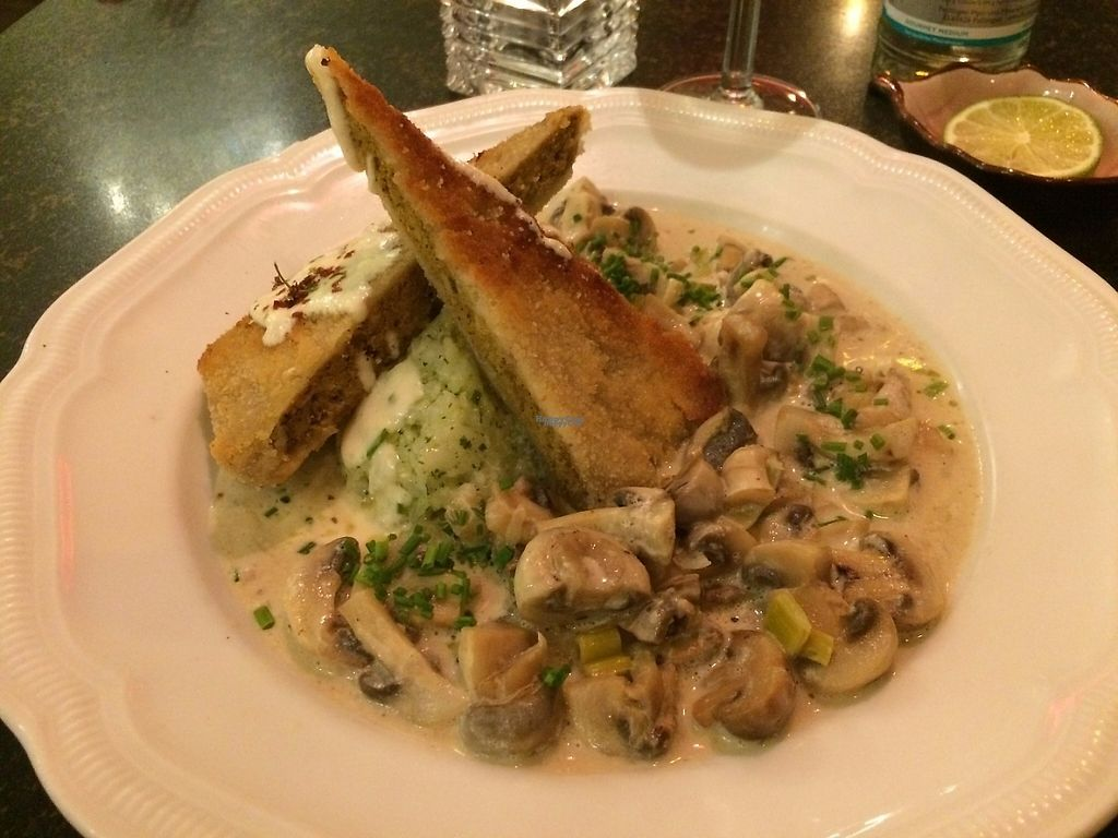 """Photo of Hiller  by <a href=""""/members/profile/LisaCupcake"""">LisaCupcake</a> <br/>Mushrooms in a cream sauce with crispy housemade seitan and risotto with bears' garlic. So good! <br/> January 5, 2017  - <a href='/contact/abuse/image/926/208390'>Report</a>"""