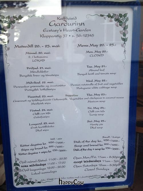 """Photo of Kaffihusid Gardurinn - Ecstasy's Heart-Garden  by <a href=""""/members/profile/Pocoheywood"""">Pocoheywood</a> <br/>Sample menu from May 2013 - in English and Icelandic, with opening hours and address details <br/> May 25, 2013  - <a href='/contact/abuse/image/954/48699'>Report</a>"""
