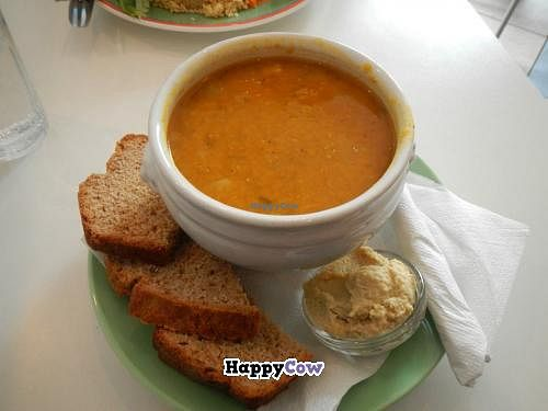 """Photo of Kaffihusid Gardurinn - Ecstasy's Heart-Garden  by <a href=""""/members/profile/Meggie%20and%20Ben"""">Meggie and Ben</a> <br/>Vegan soup of the day (red lentil and vegetable I think?), hummus, bread <br/> July 21, 2013  - <a href='/contact/abuse/image/954/51857'>Report</a>"""