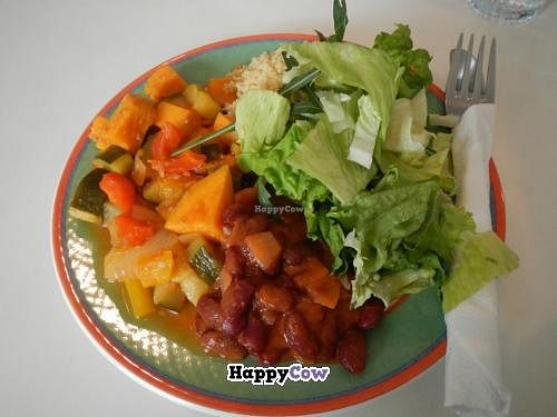 """Photo of Kaffihusid Gardurinn - Ecstasy's Heart-Garden  by <a href=""""/members/profile/Meggie%20and%20Ben"""">Meggie and Ben</a> <br/>Vegan entree of the day: South African couscous and vegetables with beans, salad, and tahini dressing <br/> July 21, 2013  - <a href='/contact/abuse/image/954/51860'>Report</a>"""
