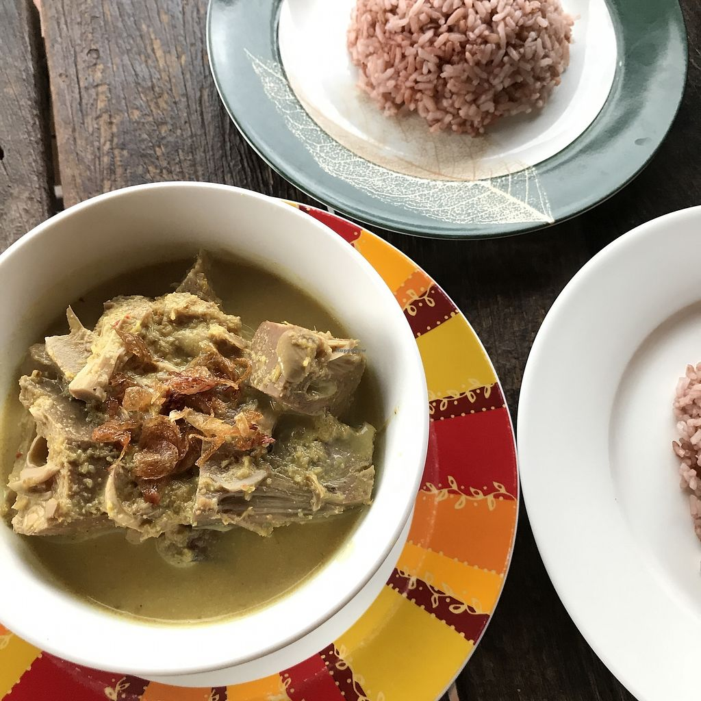 """Photo of Puspa's Warung  by <a href=""""/members/profile/marosi.laszlo"""">marosi.laszlo</a> <br/>Jackfruit curry with red rice <br/> March 15, 2018  - <a href='/contact/abuse/image/100029/370993'>Report</a>"""