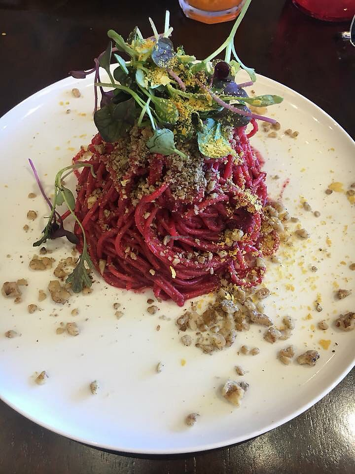 """Photo of Oh My Greens  by <a href=""""/members/profile/bruna.sefrin"""">bruna.sefrin</a> <br/>Beetroot pasta  <br/> December 10, 2017  - <a href='/contact/abuse/image/100038/334445'>Report</a>"""