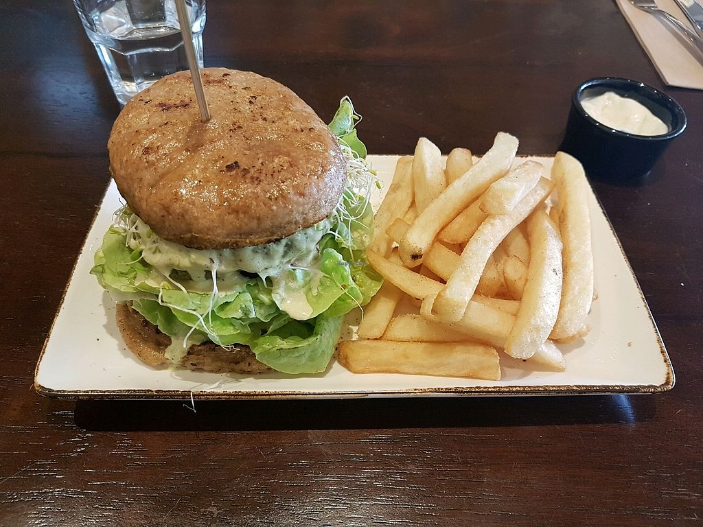 """Photo of Oh My Greens  by <a href=""""/members/profile/Marz"""">Marz</a> <br/>Green Forest Burger with chips and mayo <br/> April 15, 2018  - <a href='/contact/abuse/image/100038/386054'>Report</a>"""