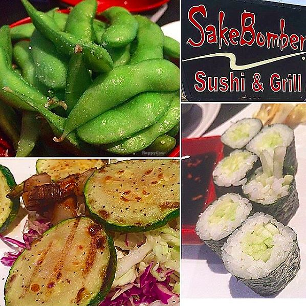 "Photo of SakeBomber Sushi & Grill  by <a href=""/members/profile/Kariannimal"">Kariannimal</a> <br/>Edamame (top left), vegetable skewers (bottom left), and cucumber roll (bottom right) <br/> September 2, 2017  - <a href='/contact/abuse/image/100078/299902'>Report</a>"