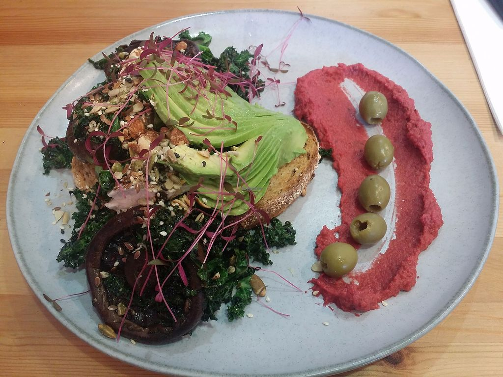 "Photo of Platform 1 Cafe  by <a href=""/members/profile/ericacrombie"">ericacrombie</a> <br/>Wonder Vegan: garlic thyme mushrooms, kale, avocado and olives on sourdough with Persian macadamia feta, beetroot hummus, almonds and super seed <br/> October 8, 2017  - <a href='/contact/abuse/image/100119/313135'>Report</a>"