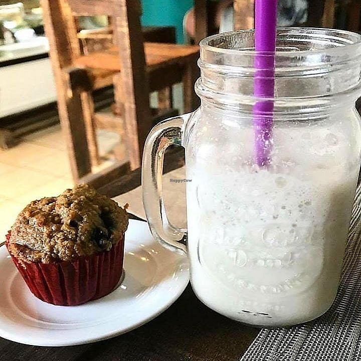 """Photo of Velvet Bakery & Coffee  by <a href=""""/members/profile/YanethGris"""">YanethGris</a> <br/>Vegan blueberry muffin and mazapan frappe made with almond milk.  <br/> November 1, 2017  - <a href='/contact/abuse/image/100160/320666'>Report</a>"""