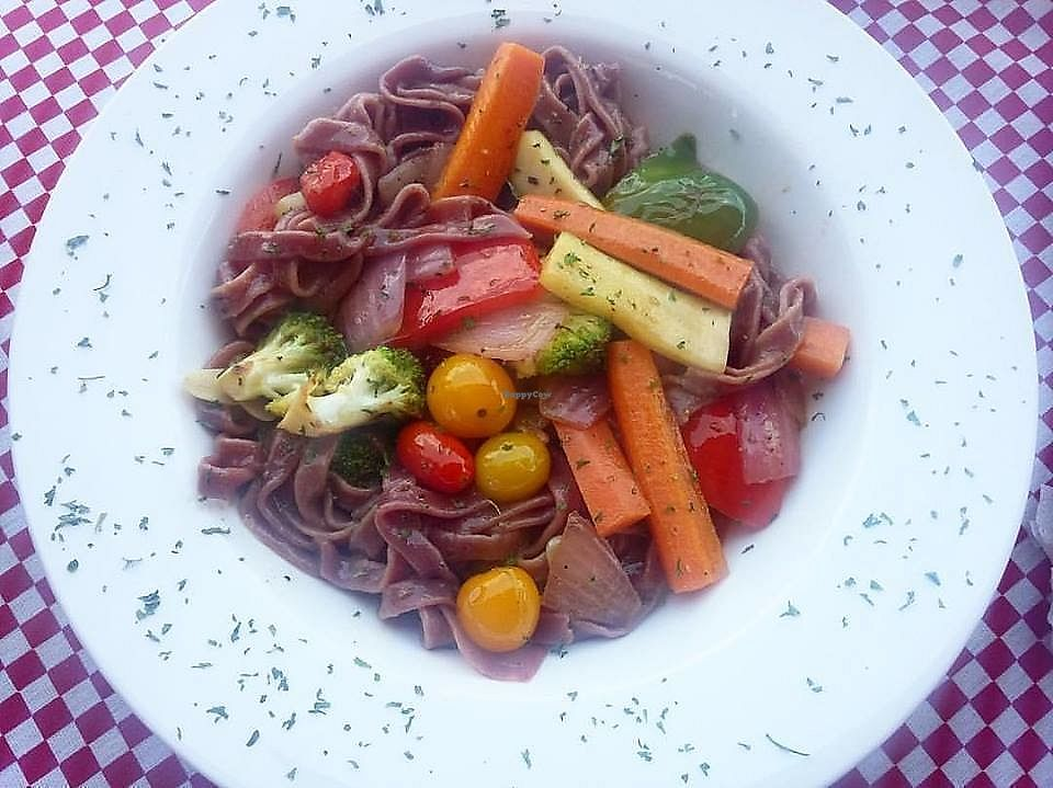 """Photo of Locos X La Pasta   by <a href=""""/members/profile/YanethGris"""">YanethGris</a> <br/>Vegan beetroot pasta <br/> November 1, 2017  - <a href='/contact/abuse/image/100166/320665'>Report</a>"""