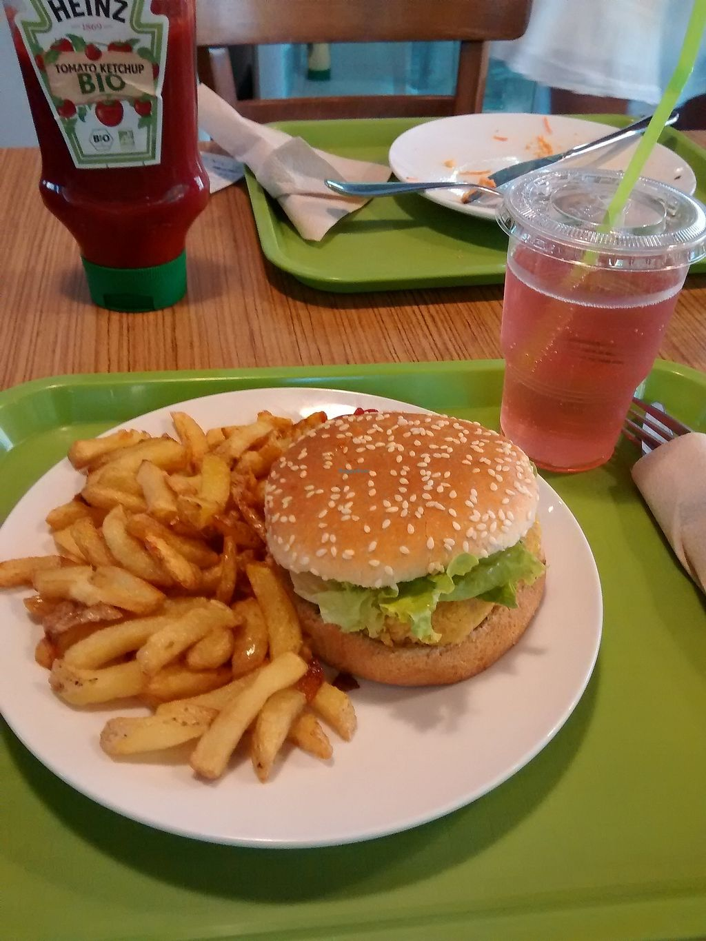 """Photo of Délices Veggies  by <a href=""""/members/profile/Thor"""">Thor</a> <br/>""""Menu Veggie"""" with french fries and a falafel burger <br/> September 18, 2017  - <a href='/contact/abuse/image/100220/305759'>Report</a>"""