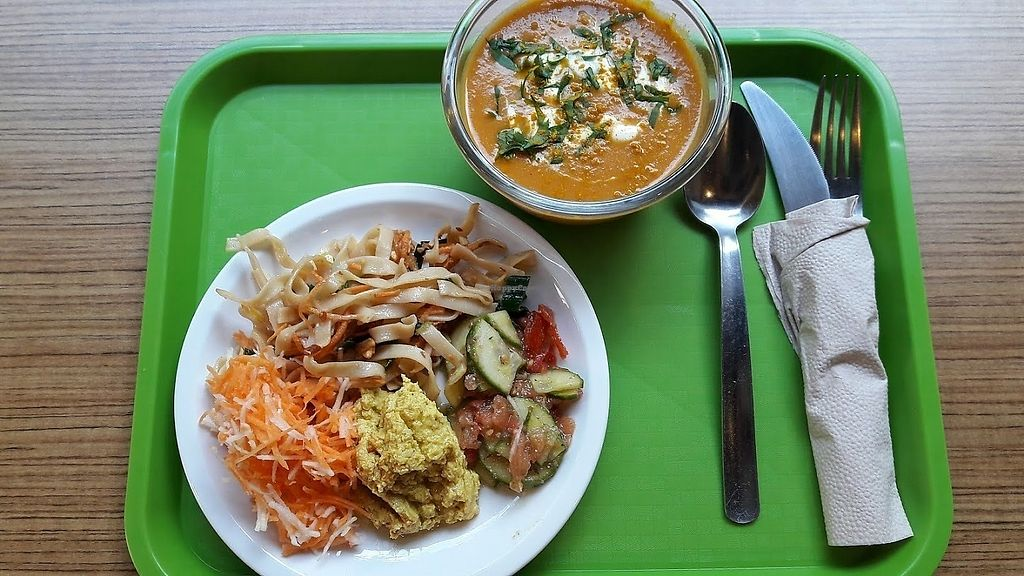 """Photo of Délices Veggies  by <a href=""""/members/profile/ElieBoinnard"""">ElieBoinnard</a> <br/>Veggie plate and soup. Delice menu <br/> September 25, 2017  - <a href='/contact/abuse/image/100220/308432'>Report</a>"""