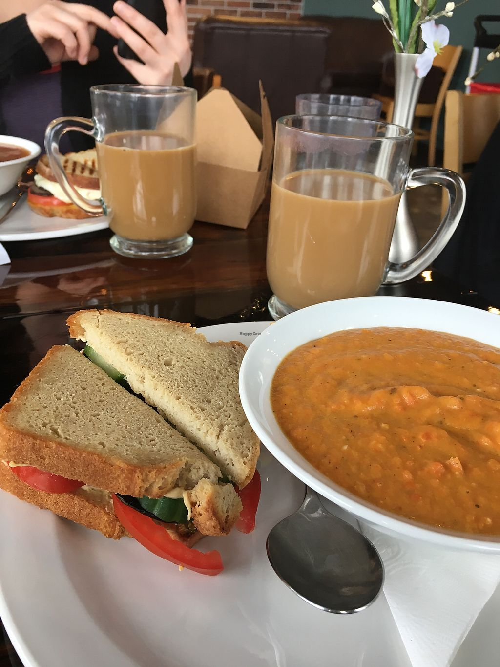 "Photo of SaraBella's Gluten Free Cafe  by <a href=""/members/profile/KellyStCoeur"">KellyStCoeur</a> <br/>Greek sandwich and carrot soup <br/> March 7, 2018  - <a href='/contact/abuse/image/100240/367607'>Report</a>"