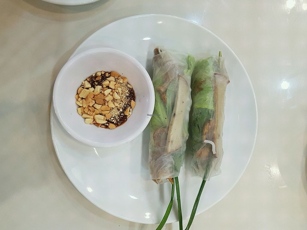 """Photo of Thien Cung - Loving Hut  by <a href=""""/members/profile/Skunkape"""">Skunkape</a> <br/>Fresh spring rolls with spicy peanut sauce <br/> March 21, 2018  - <a href='/contact/abuse/image/100280/373853'>Report</a>"""