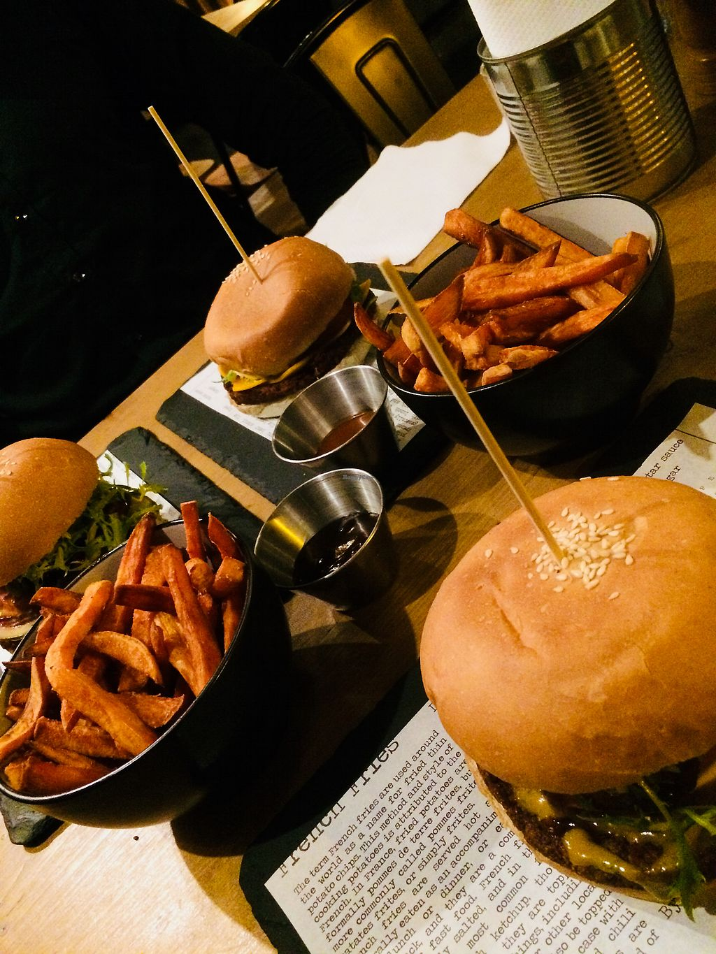 """Photo of The Lucky Bun  by <a href=""""/members/profile/J%C3%A4n%C3%B6nen"""">Jänönen</a> <br/>Vegan burgers and sweet potato fries <br/> February 22, 2018  - <a href='/contact/abuse/image/100310/362505'>Report</a>"""