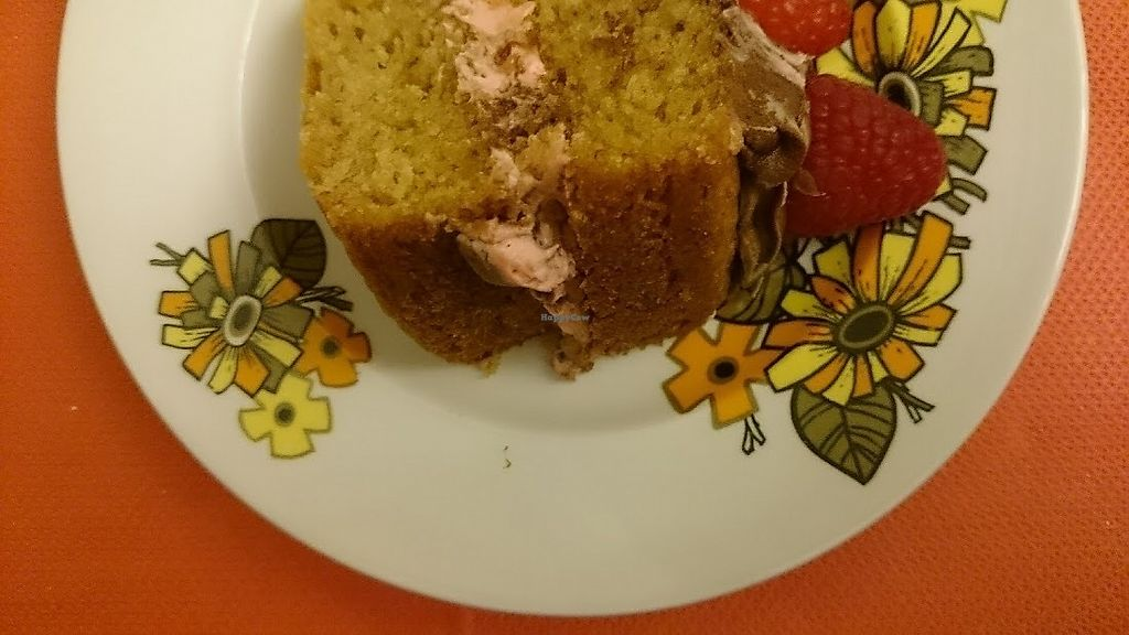 """Photo of Vegan Revelation Cafe  by <a href=""""/members/profile/Glitter-pixie"""">Glitter-pixie</a> <br/>Amazing moist sponge cake with fresh raspberries at Vegan Revelation Café, Belper <br/> February 10, 2018  - <a href='/contact/abuse/image/100317/357444'>Report</a>"""